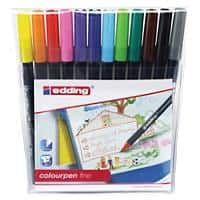 Edding water based fibre pens 1-2 mm nib assorted colours pack 12