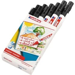 Edding water based chisel nib colour markers pack 12 black