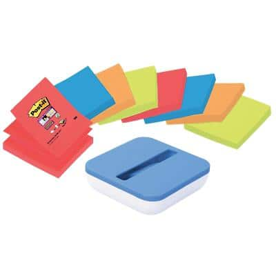Post-it Super Sticky Z-Notes Assorted Colours 8 Pads of 90 Sheets with Free Blue dispenser Value Pack
