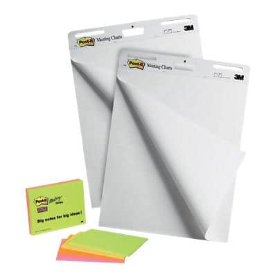 Post-it Flipchart Pad Pack of 2 + 4 FREE Meeting Notes Pads Assorted 2 Pieces of 30 Sheets
