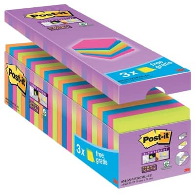 Post-it Super Sticky Notes 76 x 76 mm Assorted 24 Pieces of 90 Sheets