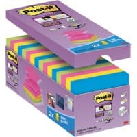 Post-it Super Sticky Z-Notes 76 x 76 mm Assorted Colours 90 Sheets Value Pack 14 + 2 Free