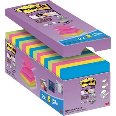 Post-it Z-Notes 76 x 76 mm Assorted 16 Pieces of 90 Sheets