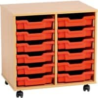 Storage Unit with 12 Trays MSU2/12 YL 700 x 495 x 650mm Beech & Yellow