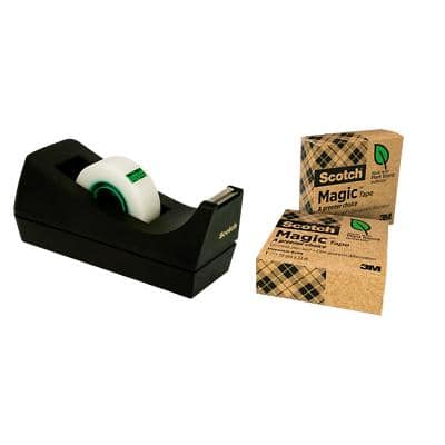 Scotch Tape Dispenser Black + Magic Tape 19mm x 33m Invisible 3 Rolls