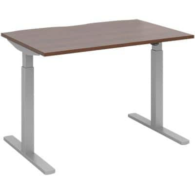Elev8² Sit Stand Single Desk with Walnut Melamine Top and Silver Frame 2 Legs Mono 1200 x 800 x 675 - 1175 mm