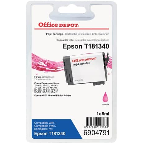 Office Depot Compatible Epson 18XL Ink Cartridge t181340 Magenta