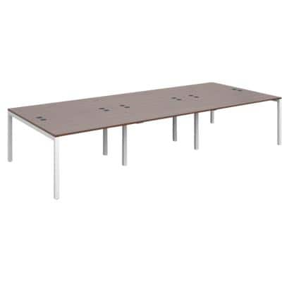 Dams International Rectangular Triple Back to Back Desk with Walnut Melamine Top and White Frame 4 Legs Connex 3600 x 1600 x 725mm