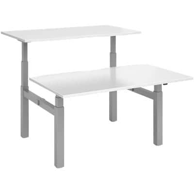 Elev8² Rectangular Sit Stand Back to Back Desk with White Melamine Top and Silver Frame 4 Legs Touch 1400 x 1650 x 675 - 1300 mm