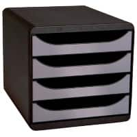 Exacompta Big Box 4 Drawer Set 218 x 284 x 387 mm Black, Silver