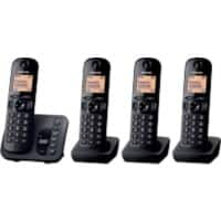 Panasonic KX-TGC224EB Cordless Telephone Black Quad Handset