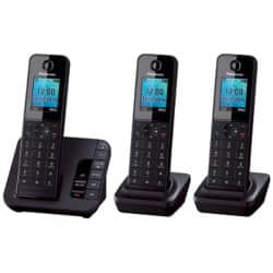 Panasonic KX-TGH220EB digital cordless phone with answering machine – trio