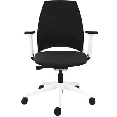 Synchro Tilt Office Chair with Adjustable Armrest and Seat IMAGE plus 202 White & Black