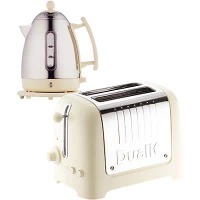 Dualit Cordless Kettle & Toaster Set 1.5L Stainless Steel Silver & White 2-Slot Toaster