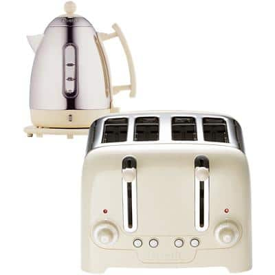 Dualit Cordless Kettle & Toaster Set 1.5L Stainless Steel Silver & White 4-Slot Toaster