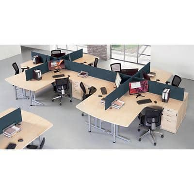 Dams International Desktop Straight Screens ES1400S-C Fabric Wrapped 1400 x 30 x 400 mm Black