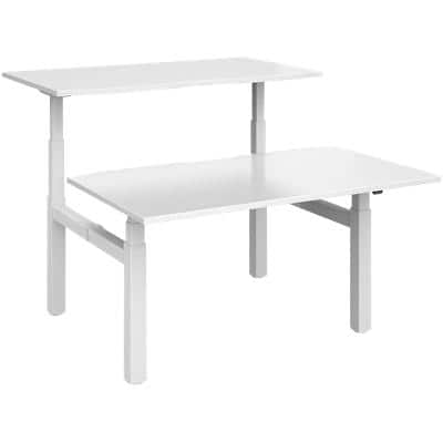 Elev8² Rectangular Sit Stand Back to Back Desk with White Melamine Top and White Frame 4 Legs Touch 1400 x 1650 x 675 - 1300 mm