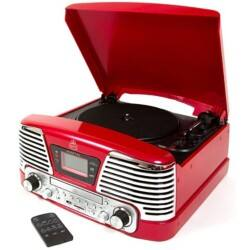 Protelx Memphis 4-in-1 turntable with CD player and FM radio – red