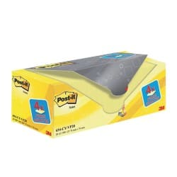 Post-it Sticky Notes 654 Canary Yellow Plain 76 x 76 mm 70gsm 20 pieces of 100 sheets