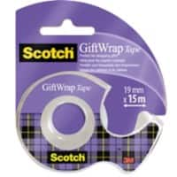Scotch Gift Wrap Tape 19mm x 16.5m Satin Transparent with Dispenser