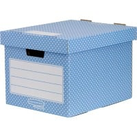 BANKERS BOX Style FastFold Archive Boxes Blue, White Pack of 4