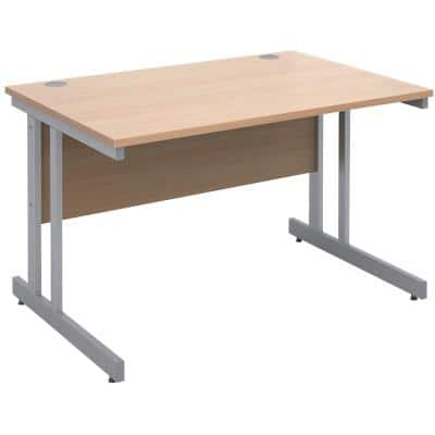 Rectangular Straight Desk with Beech Coloured MFC Top and Silver Frame Cantilever Legs Momento 1200 x 800 x 725 mm
