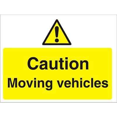 Warning Sign Moving Vehicles Fluted Board 45 x 60 cm