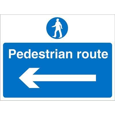Site Sign Pedestrian Route with Left Arrow Fluted Board 30 x 40 cm