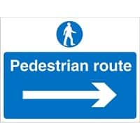 Site Sign Pedestrian Route with Right Arrow PVC 30 x 40 cm