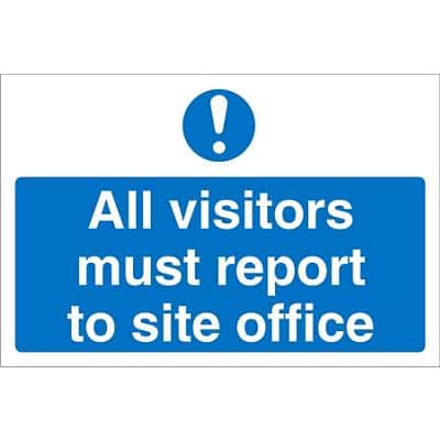 Mandatory Sign Visitors Report To Office PVC 45 x 60 cm