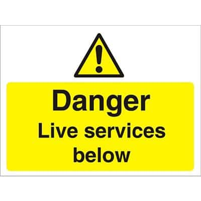 Warning Sign Live Services Fluted Board 30 x 40 cm