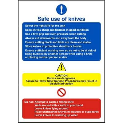 Catering Sign Use Of Knives Vinyl 30 x 20 cm