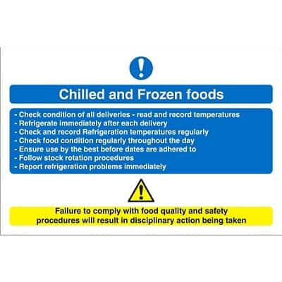 Catering Sign Chilled And Frozen Vinyl 20 x 30 cm