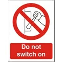 Prohibition Sign Do Not Switch On Vinyl 30 x 20 cm