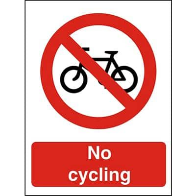 Prohibition Sign No Cycling Plastic 20 x 15 cm