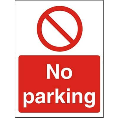 Prohibition Sign No Parking Plastic 20 x 15 cm