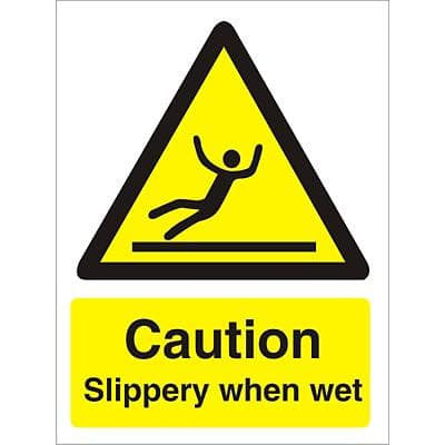 Warning Sign Slippery When Wet Vinyl 20 x 15 cm