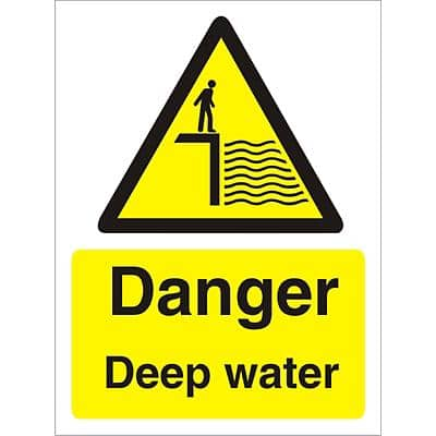 Warning Sign Deep Water Plastic 20 x 15 cm