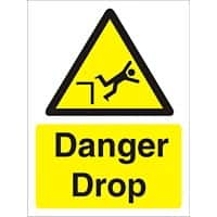 Warning Sign Danger Drop Plastic 30 x 20 cm