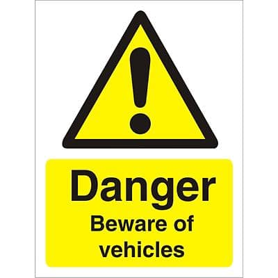Warning Sign Beware Of Vehicles Plastic 20 x 15 cm