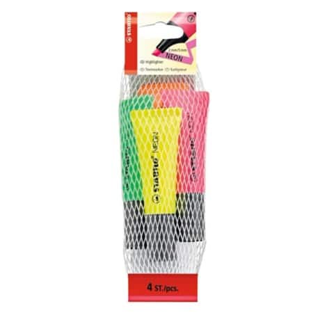 Stabilo Neon Highlighter - Assorted - Pack 4