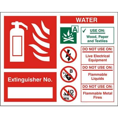 Fire Extinguisher Sign Water Extinguisher No. Vinyl 15 x 15 cm