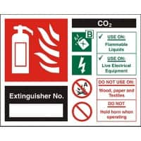 Fire Extinguisher Sign Co2 Extinguisher No. Vinyl 15 x 15 cm