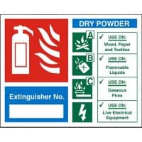 Fire Extinguisher Sign Dry Powder Extinguisher No. Vinyl 15 x 15 cm