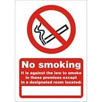 Prohibition Sign No Smoking Plastic 21 x 29.7 cm