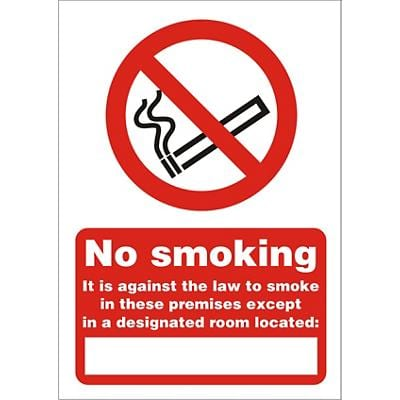 Prohibition Sign Against The Law to Smoke on These Premises Except Self Adhesive Plastic 21 x 29.7 cm