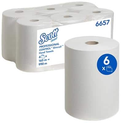 Scott Hand Towels 6657 1 Ply Rolled White 6 Rolls