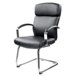 RS Soho Akris black leather faced visitor chair