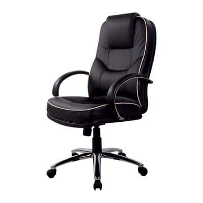 Realspace Basic Tilt Executive Chair with Armrest and Adjustable Seat Rome2 Bonded Leather Black