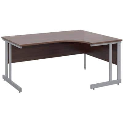 Corner Right Hand Design Ergonomic Desk with Walnut MFC Top and Silver Frame Adjustable Legs Momento 1600 x 1200 x 725 mm